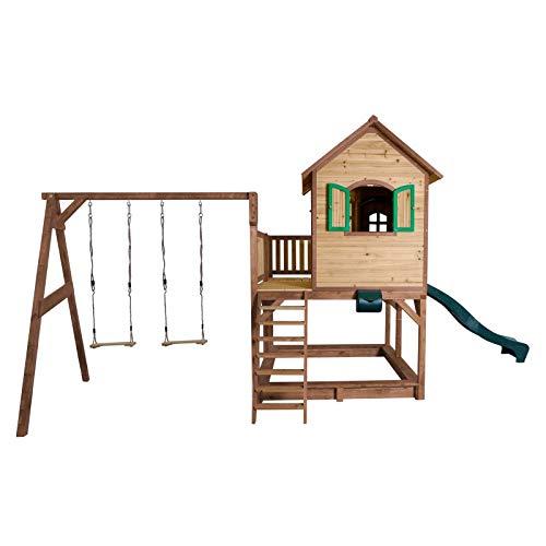 Beauty.Scouts Holzspielhaus Leon IV 277x613x291cm, braun-grün, Rutsche+Sandkasten+Doppelschaukel Kinderspielhaus Spielhaus Holzhaus Gartenhaus Garten Kinderhaus