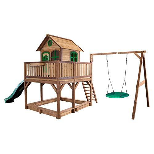 Beauty.Scouts Holzspielhaus Leon VI 277x613x291cm braun-grün Rutsche grün+Sandkasten+Nestschaukel Kinderspielhaus Spielhaus Holzhaus Gartenhaus Garten Kinderhaus
