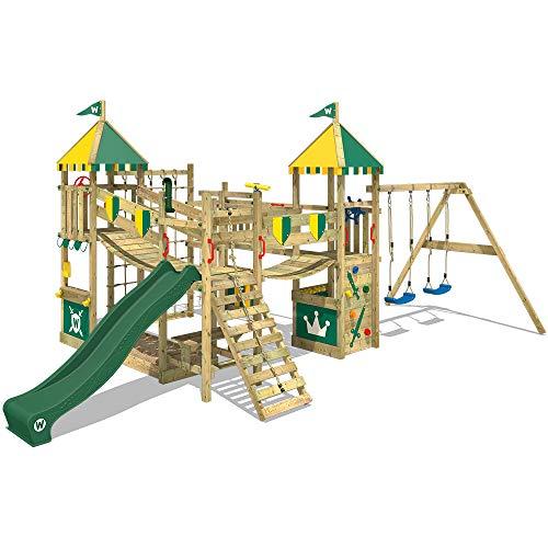 WICKEY Spielturm Ritterburg Smart Queen mit Schaukel & grüner Rutsche, Spielhaus mit Sandkasten, Kletterleiter & Spiel-Zubehör