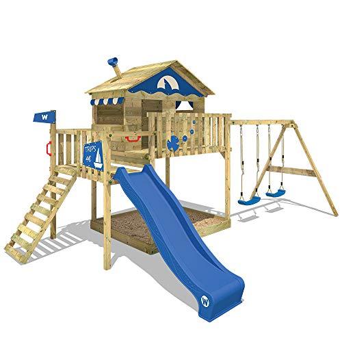WICKEY Spielturm Klettergerüst Smart Coast mit Schaukel & blauer Rutsche, Stelzenhaus mit Sandkasten, Kletterleiter & Spiel-Zubehör