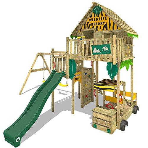 WICKEY Baumhaus Smart Explore Stelzenhaus Spielturm Klettergerüst mit Rutsche und Schaukel, Veranda und verschiedenen Klettermöglichkeiten
