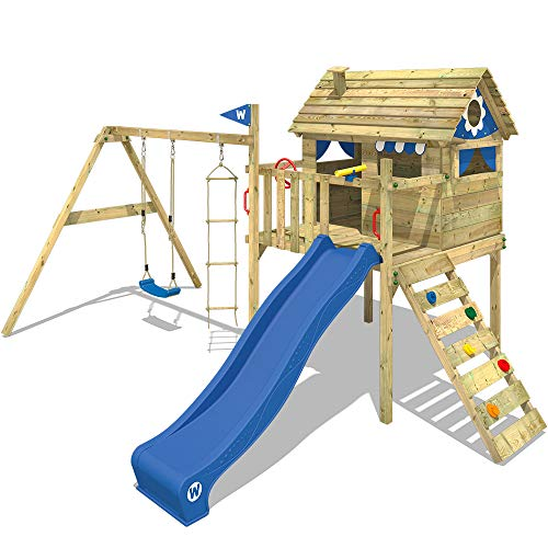 WICKEY Spielturm Klettergerüst Smart Travel mit Schaukel & blauer Rutsche, Stelzenhaus mit Kletterleiter & Spiel-Zubehör