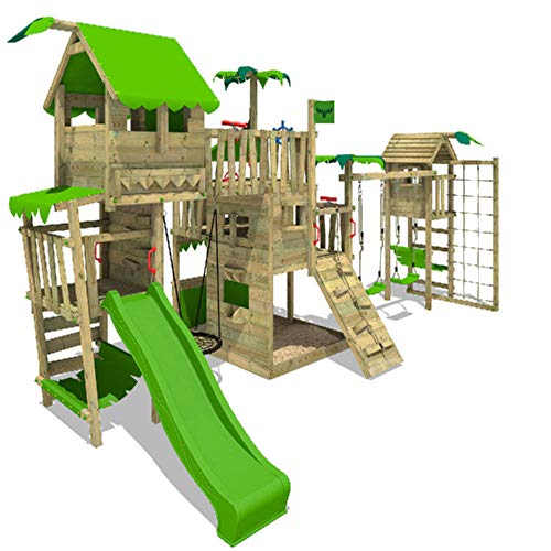 FATMOOSE Spielturm Klettergerüst PacificPearl mit Schaukel TowerSwing & apfelgrüner Rutsche, Spielhaus mit Sandkasten, Leiter & Spiel-Zubehör