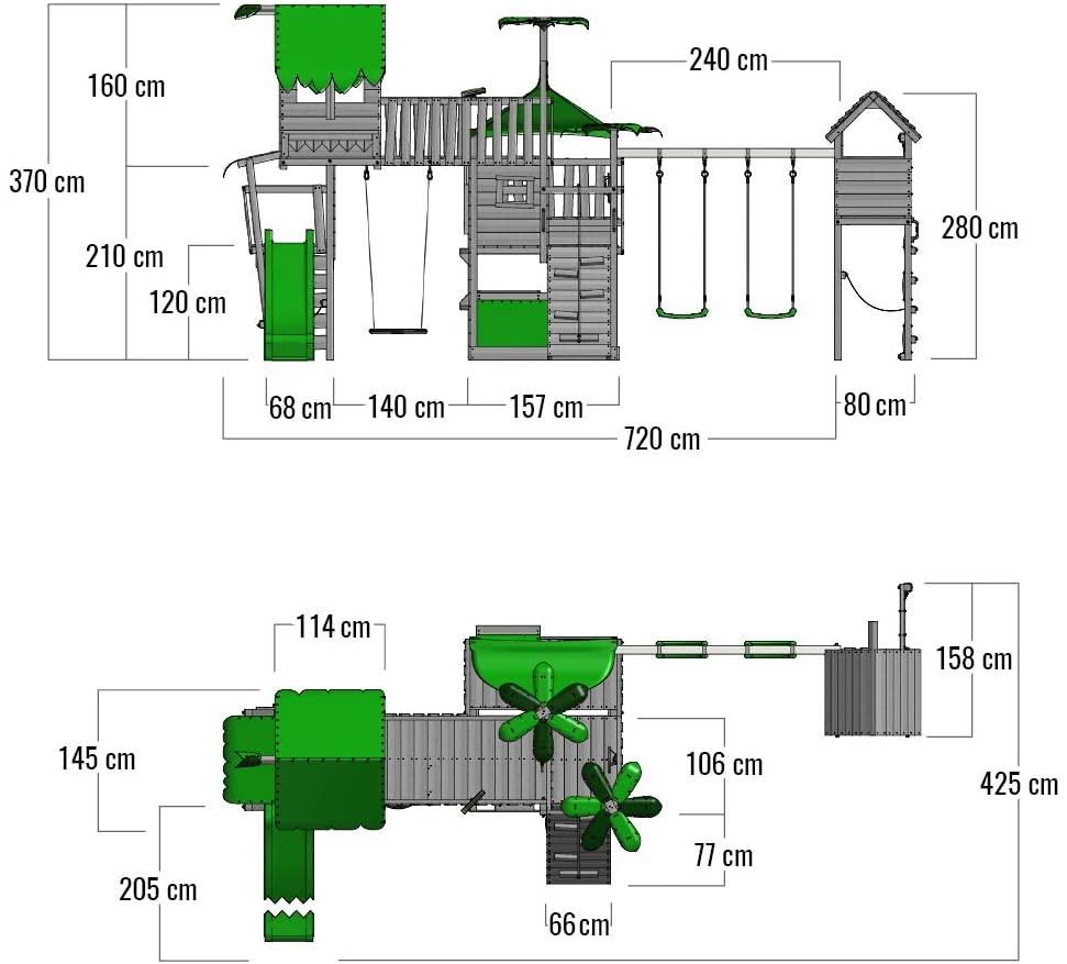 Dimensionen FATMOOSE Spielturm Klettergerüst PacificPearl