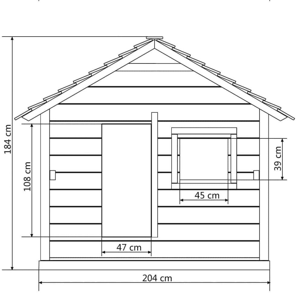 Dimensionen Kinderspielhaus Holzhaus Gartenhaus mit 3 Fenstern 204 x 204 x 184 cm