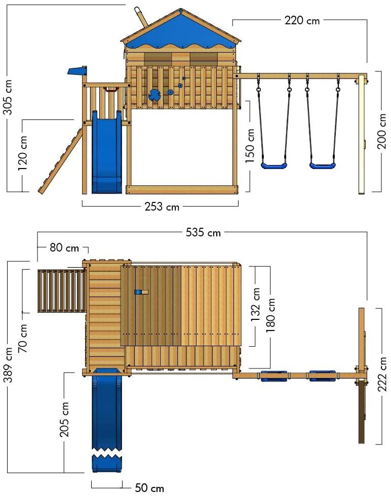 Dimensionen WICKEY Spielturm Smart Coast Kletterturm Spielhaus auf Podest mit Doppelschaukel und Rutsche