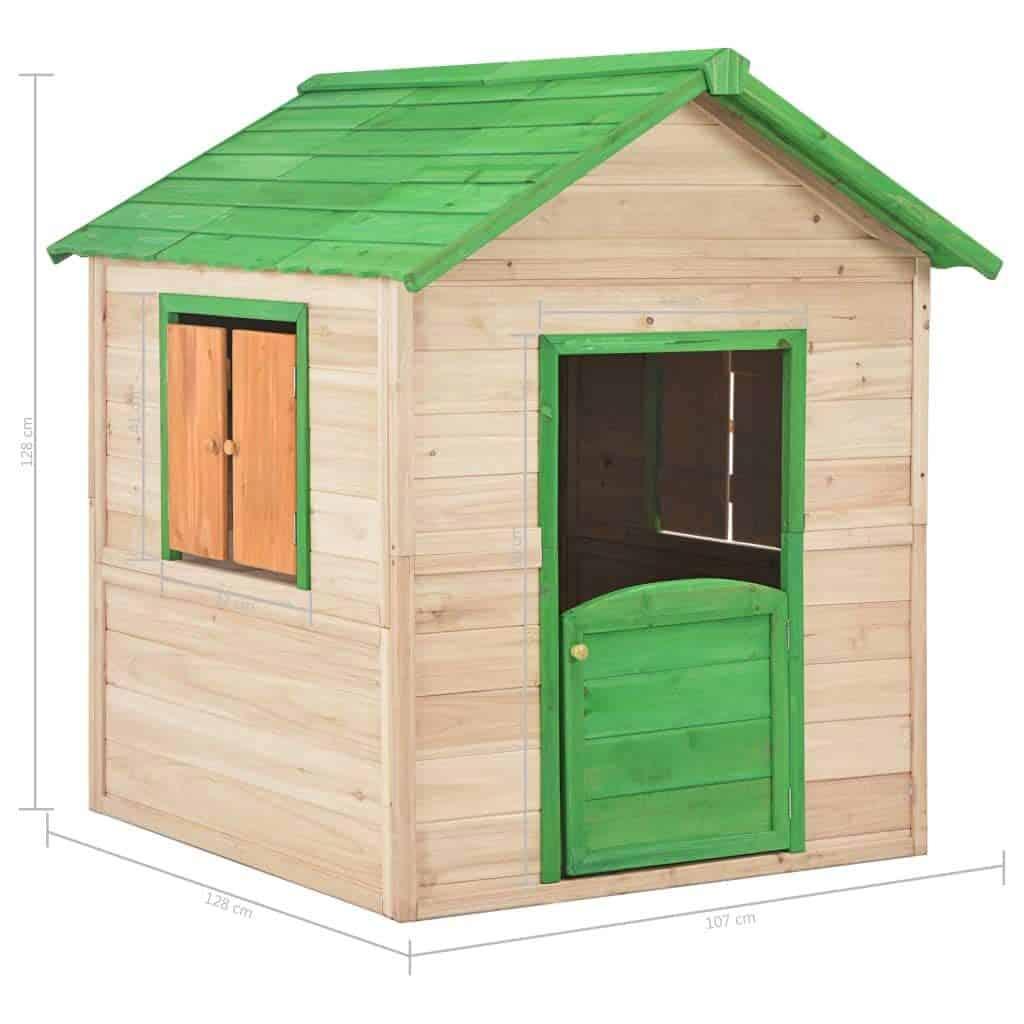 Dimensionen vidaXL Holz Kinderspielhaus mit 2 Fenstern Spielhaus Kinderhaus Gartenhaus Holzhaus Holzspielhaus Kinder Spiel Haus Garten Grün