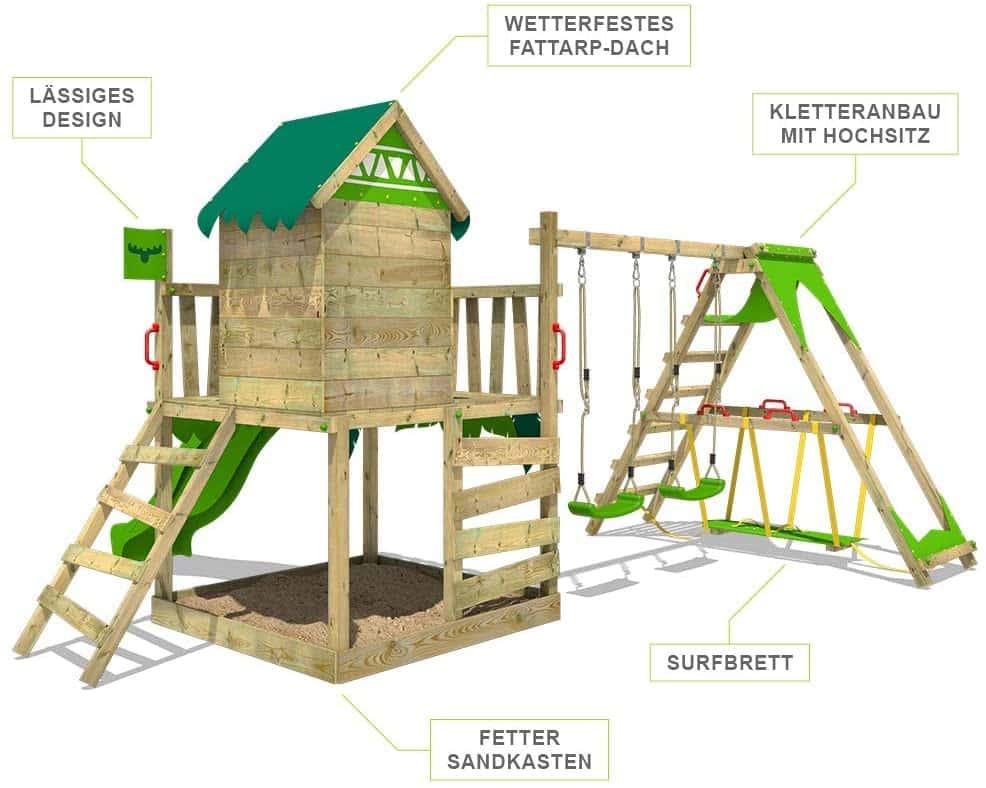FATMOOSE Spielturm Klettergerüst JazzyJungle mit Schaukel