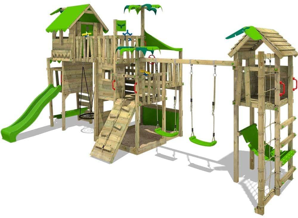 FATMOOSE Spielturm Klettergerüst PacificPearl mit Schaukel TowerSwing & apfelgrüner Rutsche, Spielhaus mit Sandkasten, Leiter
