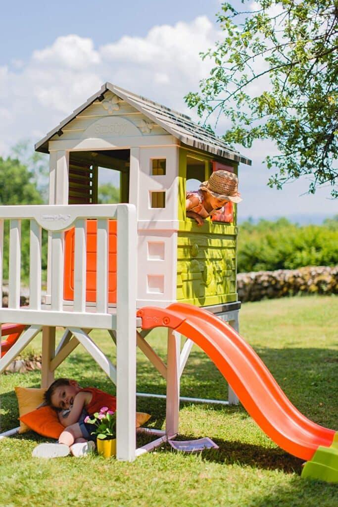 Spielhaus mit Rutsche, XL Spiel-Villa auf Stelzen, mit Fenstern, Tür, Veranda, Leiter, für Jungen und Mädchen