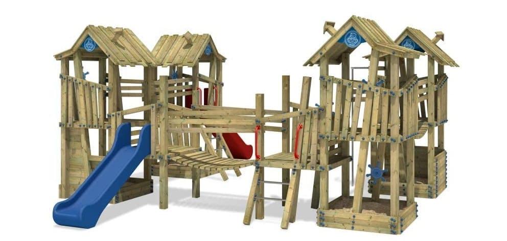 WICKEY Spielturm Klettergerüst PRO GIANT Kingdom öffentliches Spielplatz Spielgerät mit Edelstahl Rutsche Blau