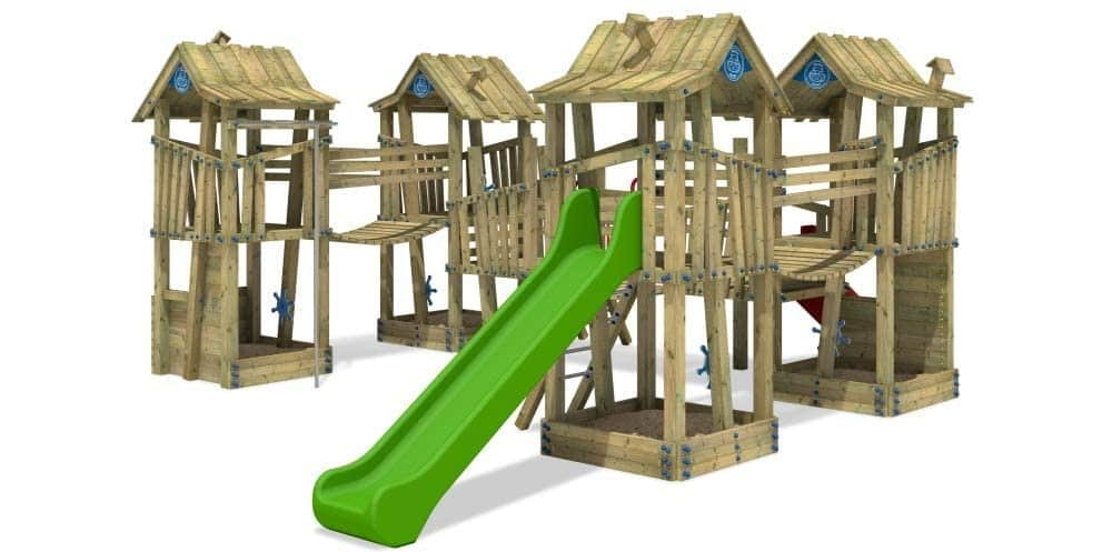 WICKEY Spielturm Klettergerüst PRO GIANT Kingdom öffentliches Spielplatz Spielgerät mit Edelstahl Rutsche Grün