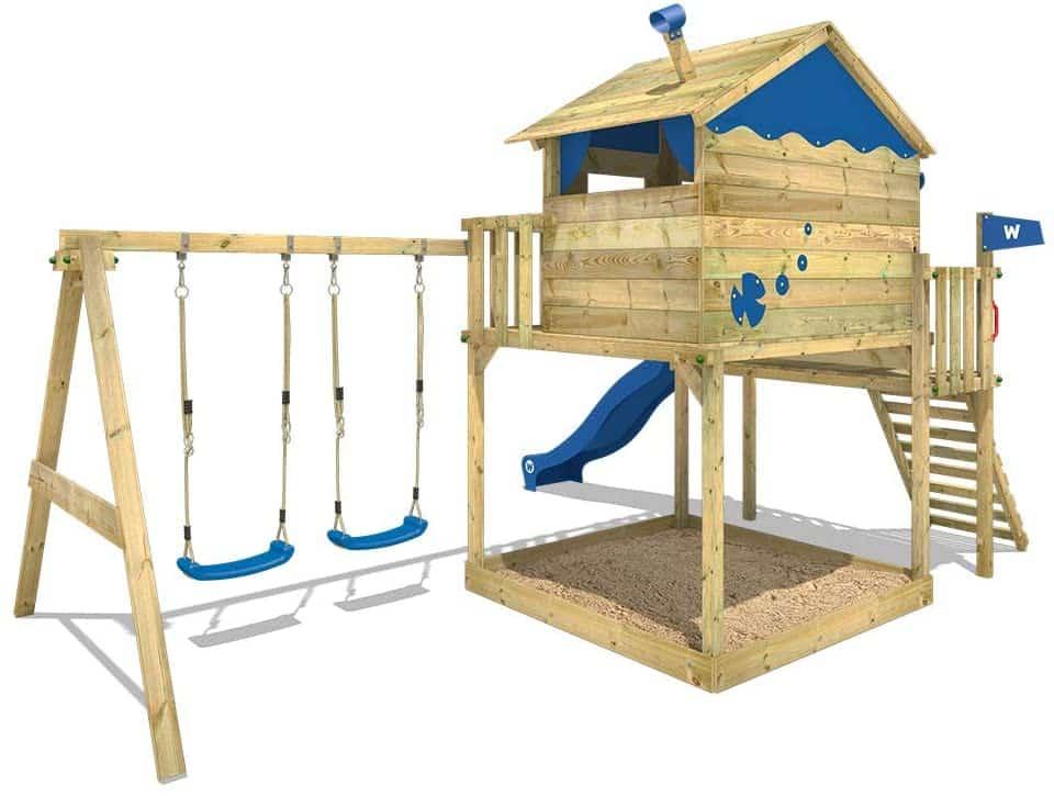 WICKEY Spielturm Smart Coast Kletterturm Spielhaus auf Podest Rückseite