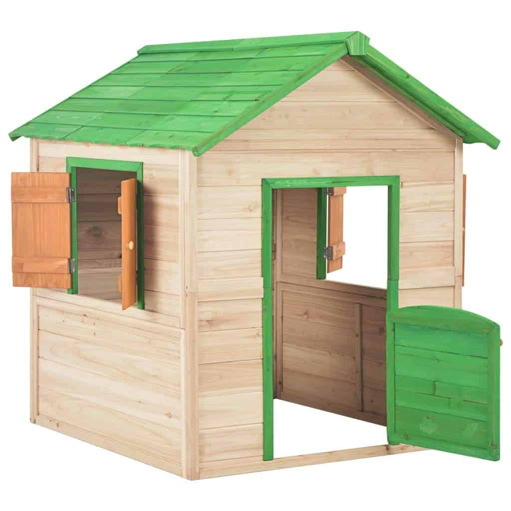 vidaXL Holz Kinderspielhaus mit 2 Fenstern Spielhaus Kinderhaus Gartenhaus Holzhaus Holzspielhaus Kinder Spiel Haus Garten Grün